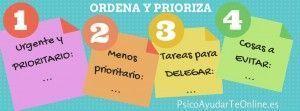 ordena y prioriza infografía psicoayudarteonline